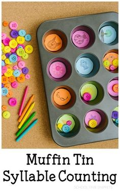 Muffin Tin Syllable Counting - This is a fun, hands-on reading activity for students. This teaches them how to count, and sound syllables out. Math Fraction Games, Easy Math Games, Early Literacy, Literacy Activities, Learning Activities, Kids Learning, Counting Games, Learning Skills, Space Activities