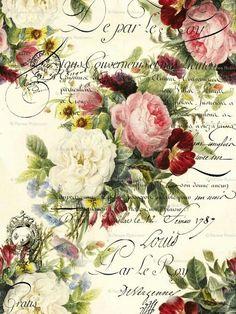63 ideas for flowers vintage printable decoupage Decoupage Vintage, Art Vintage, Vintage Paper, Vintage Prints, Shabby Vintage, Vintage Labels, Vintage Ephemera, Vintage Cards, Vintage Postcards