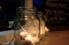 Beautiful Kilner tea lights at The Moon & Pea Lark Lane, Liverpool!
