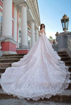 d4cc2e2f2f3 Luxury Sheer Neck Wedding Dresses Ball Gown Sweep Train Sexy Lace Beautiful Big  Bridal Gown W45