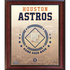Houston Astros Game Used Base 11x14 Stadium Collage - Commemorate your love of the Astros with this incredible Steiner exclusive stadium collage. Each collage features an MLB Authenticated piece of game-used base. This product is officially licensed by Major League Baseball. It measures 11x14 and comes ready to hang in any home or office.100% Guaranteed AuthenticFeatures MLB Authentication HologramIncludes Game-Used BaseMeasures 11x14Makes Perfect Collectors Item!. Gifts > Licensed Gifts…