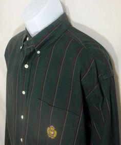 RALPH LAUREN Shirt GREEN Stripe Long Sleeve Button Front Mens EXTRA LARGE XL #LaurenRalphLauren