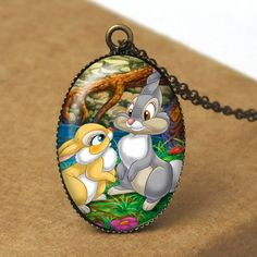 Rabbit Pendant Necklace, Bambi Necklace, Disney Bambi, Fairytale Necklace, Fairy Tale Jewelry, Bambi Jewelry, Resin Jewelry N347. $8.00, via Etsy.