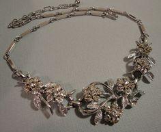 Vintage Rhinestone Necklace signed Coro by AlexiBlackwellBridal, $69.00