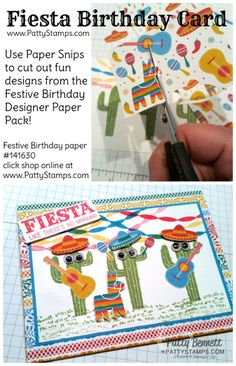 Use paper snips to cut out cute images for your Festive birthday card with stamped cactus from the Birtthday Fiesta stamp set, and Festive Birthday designer paper.