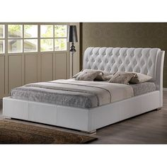 Bianca White Modern King-size Bed with Tufted Headboard | Overstock.com Shopping - The Best Deals on Beds
