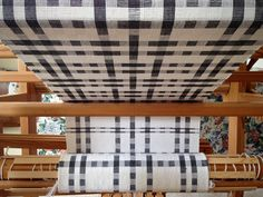 Black and white towels on the loom. Karen Isenhower.. thick and thin in plain weave, three shuttles.