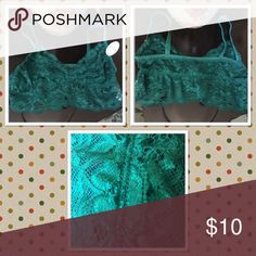 NWT Dark green lace bralette NWT Dark green lace bralette. Not padded or lined. Anemone Intimates & Sleepwear Bras