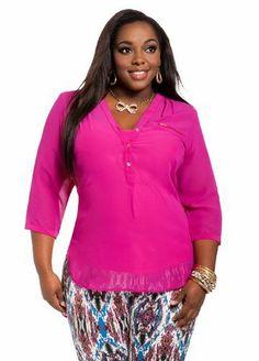 Ashley Stewart Women's Plus Size Hi-lo Button Down Top Wicked Berry 14/16