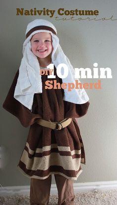 Nativity shepherd costume in 10 minutes.