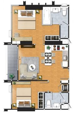 a1 Small Apartment Layout, Small Apartments, Small Spaces, Single Apartment, Small Floor Plans, My House Plans, Apartment Floor Plans, Hotel Architecture, Floor Layout