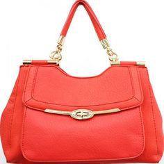 Soft Leatherette Handbag with Front Clasp Closure – Handbag Addict.com