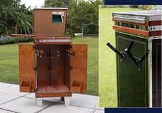 This vertical dressage trunk is designed with two saddle racks, six bridle racks, and six hooks for optimal tack storage. The upper compartment is lockable and features a cork board, mirror, and three adjustable partitions. (Shown open. Horse Barns, Horse Tack, Tack Locker, Tack Box, Tack Trunk, Campaign Furniture, Tack Rooms, Wooden Horse, Dream Barn