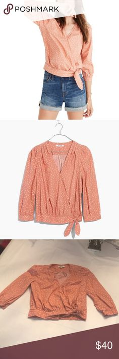 EUC Size XS Coral Madewell Wrap Shirt With Stars EUC Size XS Coral Madewell Wrap Shirt With Stars. Madewell Tops Blouses