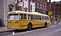 Old Photos of Dayton Ohio | Description Dayton Pullman trolley bus, Jefferson & 4th, 1968.jpg