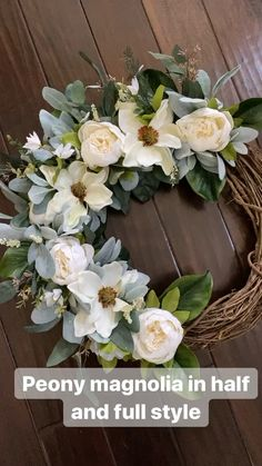 Home decor Our gorgeous peony magnolia wreath is available in half wreath or full wreath options. Magnolia Wreath, Wreaths For Front Door, Door Wreaths, Ribbon Wreaths, Yarn Wreaths, Flower Wreaths, Diy Wreath, Grapevine Wreath, Tulle Wreath