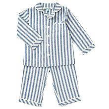 Buy John Lewis Baby Striped Woven Pyjamas, Blue Online at johnlewis.com