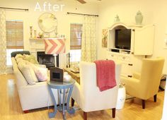 Charming in Charlotte's Living Room Before & After makeover. We love how bright and airy the room feels now!