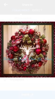 Christmas deer head plaid ribbon bows berries gold bells pine wreath for holiday front door decor 2014