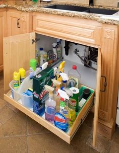 How's that for an under-sink storage solution? A custom fit assures you minimum wasted space and convenient access to all the items you store. We'll make yours sized to maximize the space under your sink... or in any existing cabinets in your home. #kitchenstore