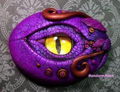 Purple and Bronze Dragon Eye Polymer Clay by MandarinMoon.deviantart.com on @deviantART