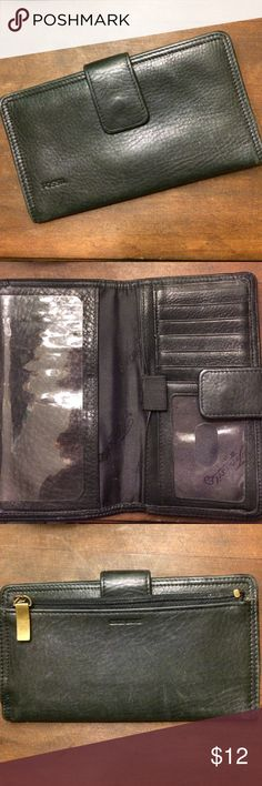 Vintage fossil wallet Black leather wallet with checkbook insert and slots for credit card slots. Outside zipper and  fold over snap closure Fossil Bags Wallets