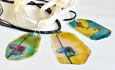 Mica Necklaces | Ephemeral Alchemy Gallery - transparent photographs and alcohol inks on mica sheets.