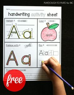 Activity Pages 26 FREE handwriting activity kids. Such a fun way to teach kids letter FREE handwriting activity kids. Such a fun way to teach kids letter formation! Preschool Letters, Kindergarten Writing, Learning Letters, Preschool Learning, Alphabet Letters, Letter Tracing, 26 Letters, Preschool Letter Worksheets, Kindergarten Letter Activities