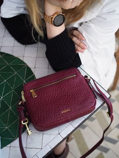 The rose gold Q Wander display smartwatch and the wine leather Piper crossbody are a match made in heaven. via @ taylranne