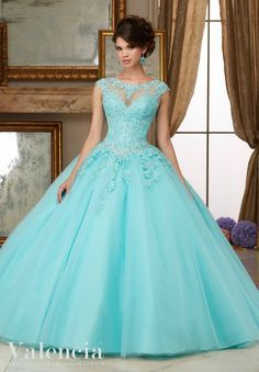 Crystal Beaded Lace Appliques on Tulle Ball Gown Quinceanera Dress Designed by Madeline Gardner. Matching Stole. Colors Available: Scarlet, Aqua, Blush, White