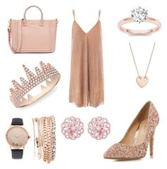 """""""Rose Gold Contest"""" by lankaa ❤ liked on Polyvore featuring Jessica Carlyle, Sans Souci, Head Over Heels by Dune, Ginette NY and Anne Sisteron"""