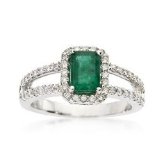 Shimmering and gorgeous, our 1.00 carat emerald-cut emerald and .35 ct. t.w. diamond ring features an open-shank band covered in sparkling diamonds. 14kt white gold ring. Free shipping & easy 30-day returns. Fabulous jewelry. Great prices. Since 1952.