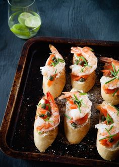 prawn, caper and chive crostini