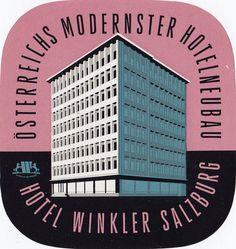 """""""Hotel Winkler Salzburg Öterreichs Modernster Hotelneubau"""" - Vintage Austrian Luggage Label, '50s/'60s."""