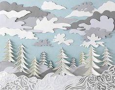 Art Print Paper Sculpture  Winter Giclee 8x10 by DeeDeeJacq, $30.00