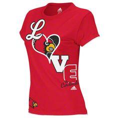 louisville cardinals womens red adidas school love t shirt
