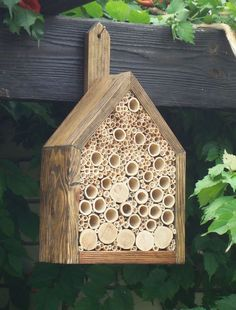 Very good idea for starting a bee hive.To keep bees in your garden, give them a place to nest and breed. You can make your own by filling a wood box with rolls of paper or cut bamboo reeds, or buy one that looks as beautiful as it is functional. Jardin Decor, Gazebos, Amaryllis Bulbs, Bug Hotel, Mason Bees, Bee House, Home Decoracion, Bamboo Crafts, Bee Friendly