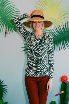"Sexy-Longsleeve-Shirt ""PALM TREE LOVE"" in grün"