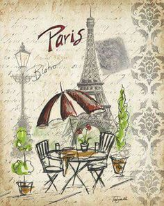 Gallery Wrapped Canvas: Paris Sketch: Café by Tre Sorelle Studios : 4 Decoupage Vintage, Vintage Pictures, Vintage Images, Art Parisien, Paris Landmarks, Etiquette Vintage, Paris Images, Paris Art, Paris Theme