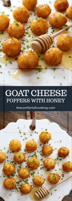 Crispy Goat Cheese Poppers with Honey - Appetizer Snacks Yummy Appetizers, Appetizers For Party, Appetizer Recipes, French Appetizers, Tapas Recipes, Vegetarian Appetizers, Cuban Recipes, Honey Recipes, Appetizer Ideas