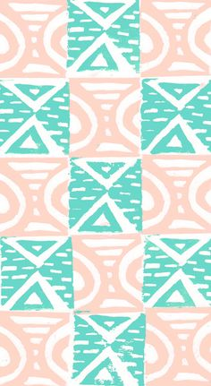 Pink and Blue Lino Print Triangles and Semi-Circles - Sarah Bagshaw