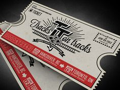 Crest and faux-ticket design for an upcoming cross-Canada music tour, by Ben Didier.
