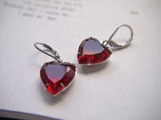 silver ruby heart earrings