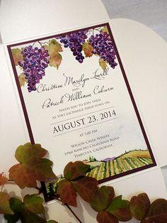 SAMPLE - Vineyard Watercolor Petal Fold Wedding Invitation by NooneyArt on Etsy
