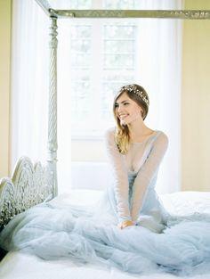 Tendance Robe du mariage Princess-worthy pale blue wedding dress: www. Pre Wedding Photoshoot, Wedding Shoot, Eclectic Wedding, Blue Wedding Dresses, Lace Dresses, Tulle Dress, Dress Wedding, Wedding Looks, Bridal Style