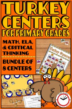 Your primary students will gobble up these 8 centers for the weeks before Thanksgiving. ELA, math, and critical thinking in hands on format. 2nd Grade Classroom, First Grade Math, Second Grade, Thanksgiving Activities, Holiday Activities, Teaching Resources, Classroom Resources, Teaching Art, Teaching Ideas