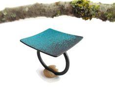 Enamel Turquoise Ring, Oxidized Silver Ring Adjustable, Large Square Ring, Modern Enamel Ring, Enamel Oxidized Ring, Contemporary Jewelry