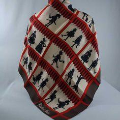 "BIANCHINI FERIER Vintage Silk Twill Scarf 30"" Unusual Design MARIONETTES Hand Rolled Hem - Thumbnail 1"