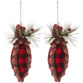 Red Plaid Finial Ornaments with Greenery