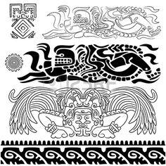 Vector de los patrones antiguos con dioses mayas y los ornamentos Foto de archivo - 12776246